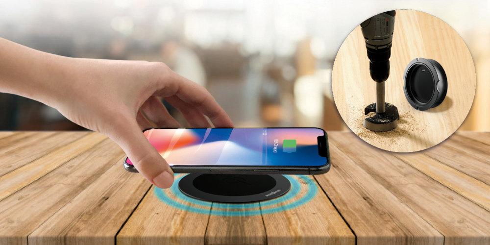 Cargador inalámbrico Qi para instalación en mesas y muebles