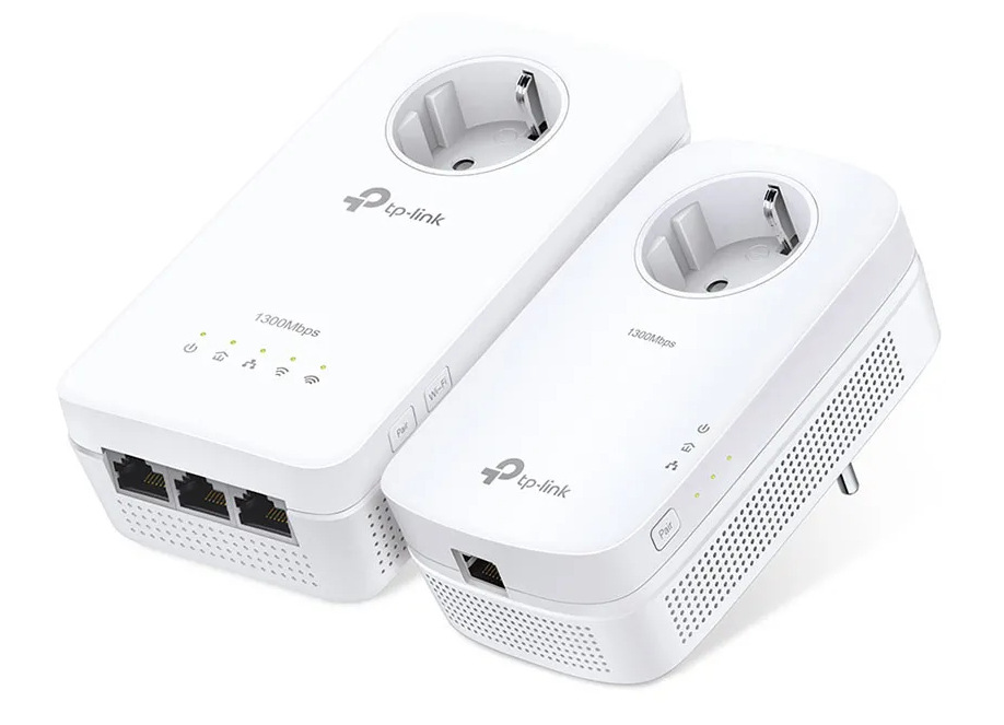 Kit Powerline Wi-Fi AC Gigabit AV1300 con enchufe y tres puertos Gigabit