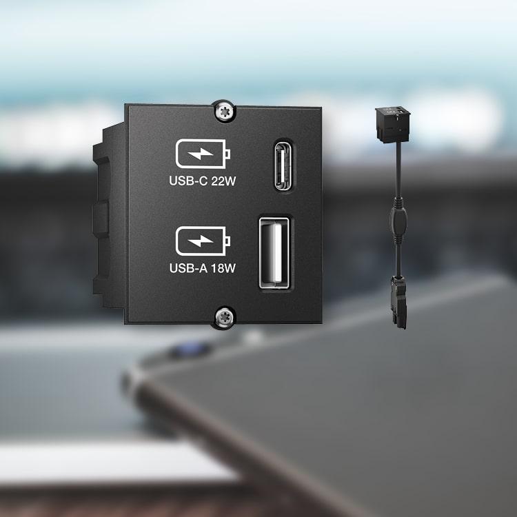 Paneles para conexión de mesa con módulos cargadores sin adaptador externo